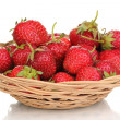 Sweet ripe strawberries in basket isolated on white — Stock Photo #25092817