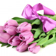 Beautiful bouquet of purple tulips, isolated on white — Stock Photo #25093287