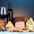 Exquisite still life of wine, cheese and meat products — Stock Photo #25093687
