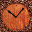Wall clock of coffee beans, close up — Stock Photo #25094185