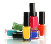 Grupo de esmaltes de uñas brillantes aislado en blanco — Foto de Stock