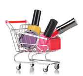 Cosmetics in cart isolated on white — Stock Photo