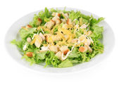 Caesar salad on white plate, isolated on white — Stock Photo