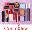 Stock Photo: Decorative cosmetics on purple background