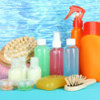 Foto de Stock  : Hotel cosmetics kit on bright color background
