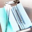 Dentist tools on grey table close-up — ストック写真