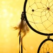 Beautiful dream catcher on yellow background — Stock fotografie