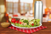 Kebab - grilled meat and vegetables, on plate, on wooden table, on bright background — Foto Stock