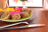 Stuffed cabbage rolls on table at home — Stok fotoğraf