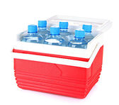 Traveling refrigerator with bottles of water, isolated on white — Stock Photo