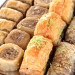 Sweet baklava on tray close-up — Stock Photo