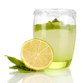 Lemonade in glass isolated on white — Stock Photo