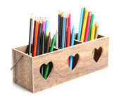 Different pencils in wooden crate, isolated on white — Stock Photo