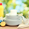 Empty clean plates, glasses and cups with dishwashing liquid, sponges and lemon on wooden table on green background — Stock Photo #25325157