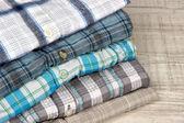 Shirts neatly folded close-up — Stock Photo