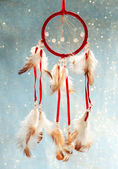 Beautiful dream catcher on blue background with lights — Stok fotoğraf