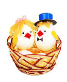 Easter chicken toys isolated on white — Stock Photo