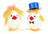 Two chicken toys isolated on white — Stock Photo