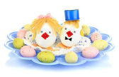 Easter eggs and two chicken toys isolated on white — Stock Photo