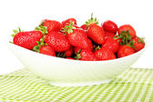 Fresh strawberry in bowl isolated on white — Foto de Stock