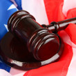 Royalty-Free Stock Photo: Judge gavel on american flag background