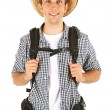Young hiker man tourist, isolated on white — Stock Photo