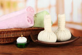 Tekstil masaj oda zemin üzerine spa-donatımı — Stok fotoğraf