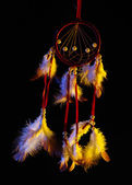 Beautiful dream catcher on black background — Photo