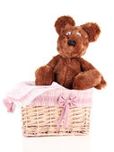 Beautiful basket with toy bear isolated on white — Stock Photo
