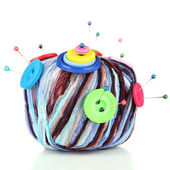 Colorful buttons and multicolor wool ball, isolated on white — Stock Photo