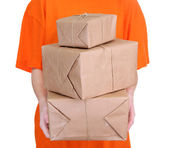 Mensajero con cajas de parcelas, aislado en blanco — Foto de Stock
