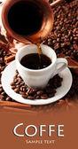 Copa e café em grãos de café fundo — Foto Stock