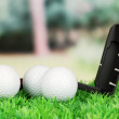 Golf balls and driver on green grass outdoor close up — Stock Photo #25452379