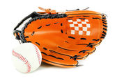 Baseball glove and ball isolated on white — 图库照片