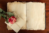 Open old book, letters and rose on wooden background — Stock Photo