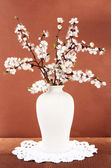 Beautiful blooming branches in vase on pink background — Foto Stock