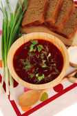 Delicious borsch on table close-up — Stock Photo