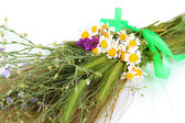Bouquet of wild flowers and herbs, isolated on white — Stock Photo