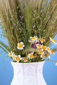 Bouquet of wild flowers and herbs, in vase, on color background — Stock Photo