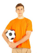 Beyaz izole topu tutan genç futbolcu — Stok fotoğraf