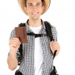 Young hiker man tourist holding passport, isolated on white — Stock Photo