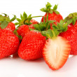 Fresh strawberry isolated on white - Stock Photo