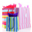 Striped shopping bags isolated on white — Foto Stock