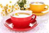 Cups of herbal tea with camomiles close up — Foto Stock