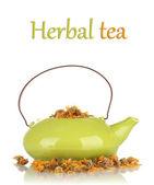 Erbe essiccate in teiera, isolate su bianco. fotografia concettuale di tè alle erbe. — Foto Stock