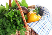 Useful herbs, mushrooms, and pepper in basket isolated on white — Stock Photo