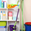 Shelves in pantry with  cleaners for home close-up - Стоковая фотография