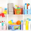 Shelves in pantry with cleaners for home close-up — Stock Photo