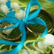 Wedding rings tied with ribbon on flower background - Stock Photo