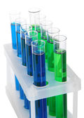 Identical test tubes isolated on white — Stock Photo